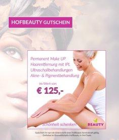 125 Euro Gutschein Kosmetikstudio HofBeauty