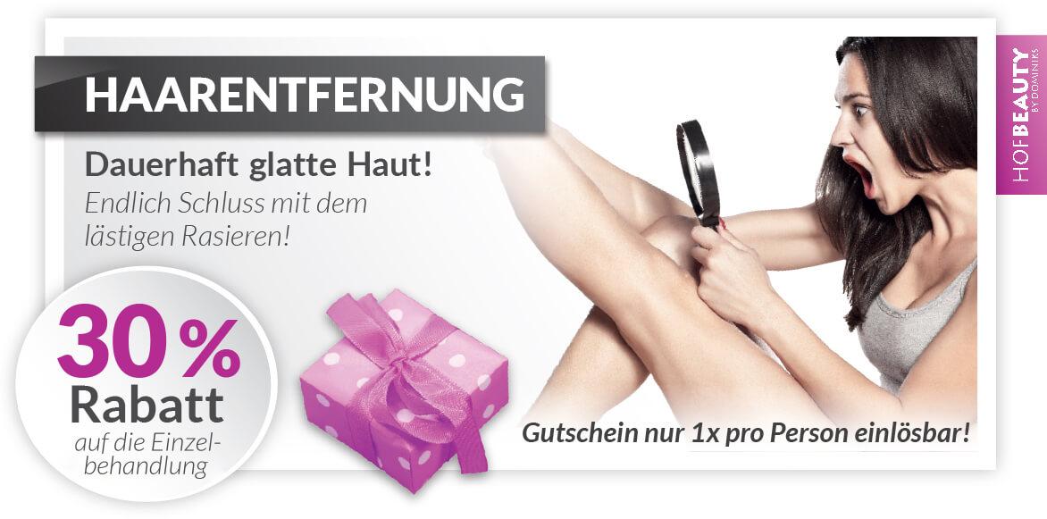 Rabatt Gutschein dauerhafte Laser Haarentfernung - Kosmetikstudio HofBeauty in Hof