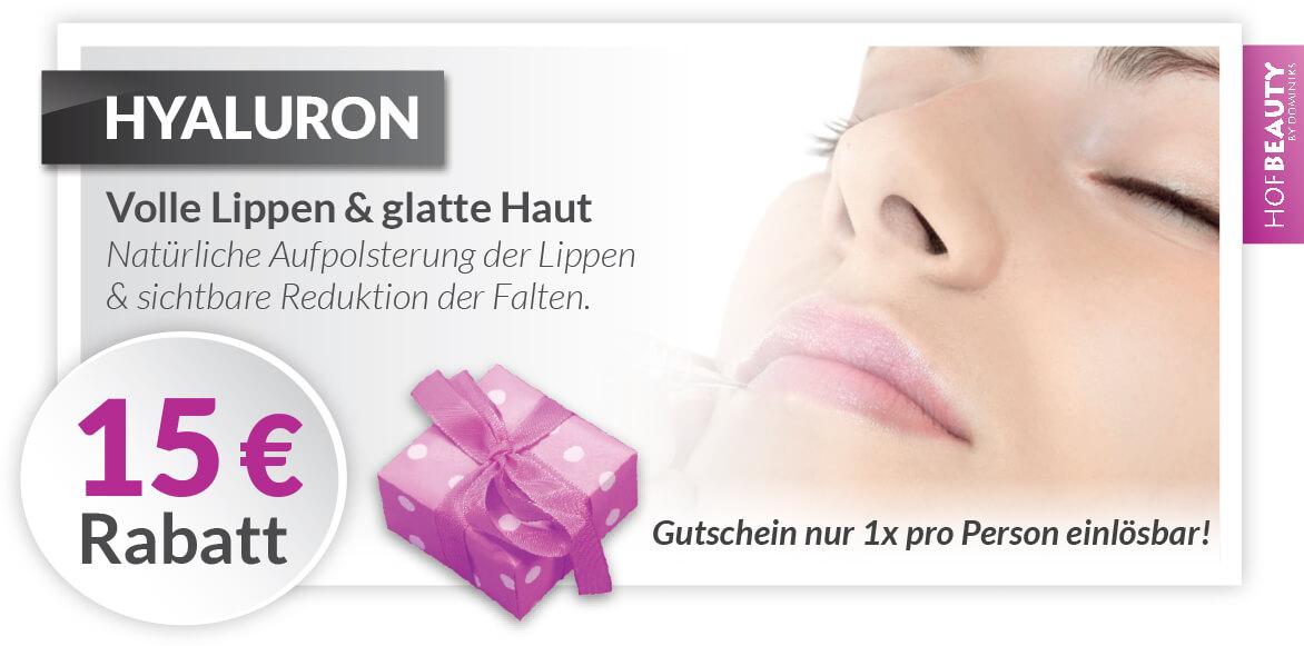 Rabatt Gutschein Hyaluron Behandlung im Kosmetikstudio HofBeauty in Hof