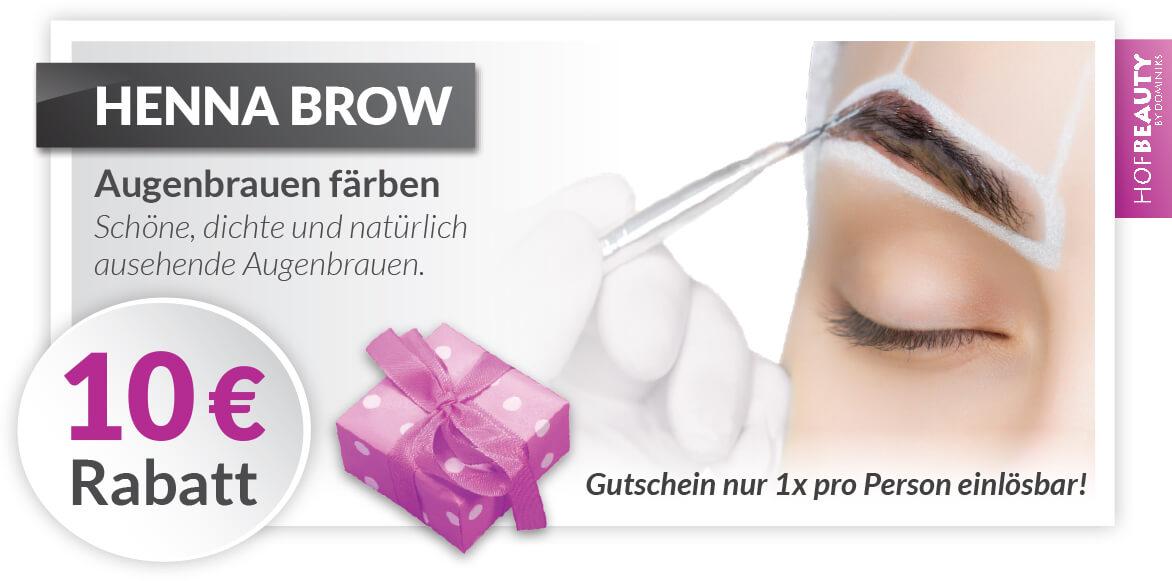 Rabatt Gutschein Henna Brow im Kosmetikstudio HofBeauty