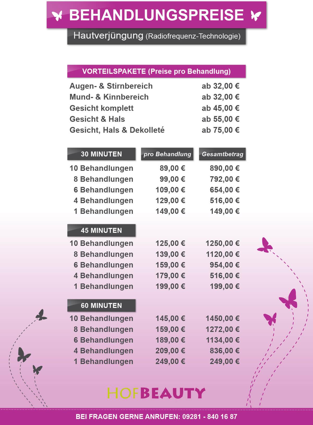 HofBeauty Behandlungspreise Preisliste Hautverjuengung