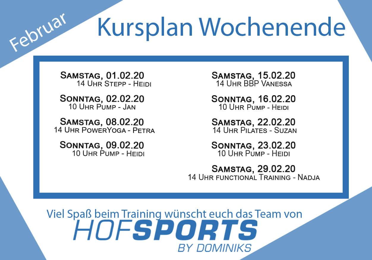 HofSports Kursplan Februar 2020