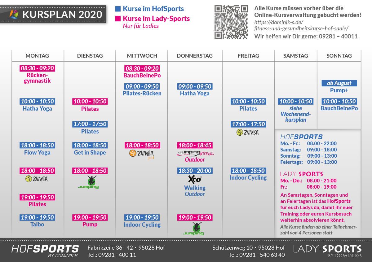 Kursplan 2020 - Fitnesskurse Gesundheitskurse - Fitnessstudios HofSports und Lady-Sports