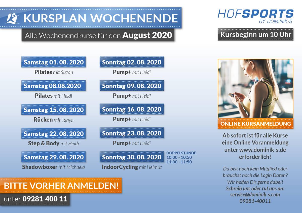 </p> <h2><strong>WOCHENENDKURSE AUGUST 2020</strong></h2> <p>