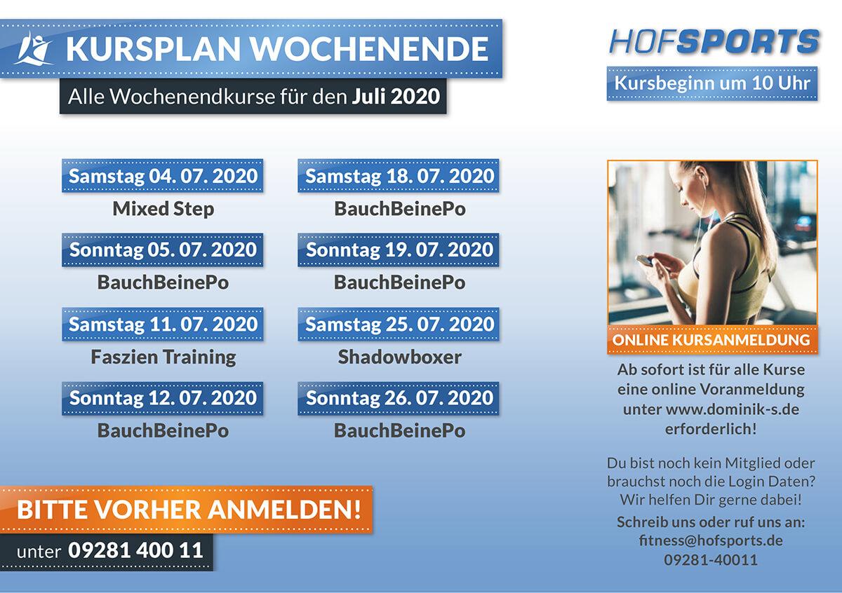 HofSports Kursplan Wochenendkurse Juli 2020