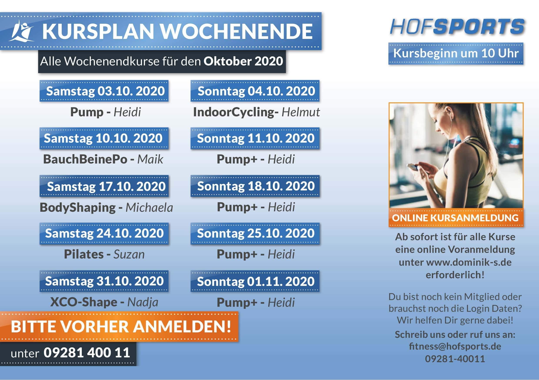 </p> <h2><strong>WOCHENENDKURSE Oktober 2020</strong></h2> <p>