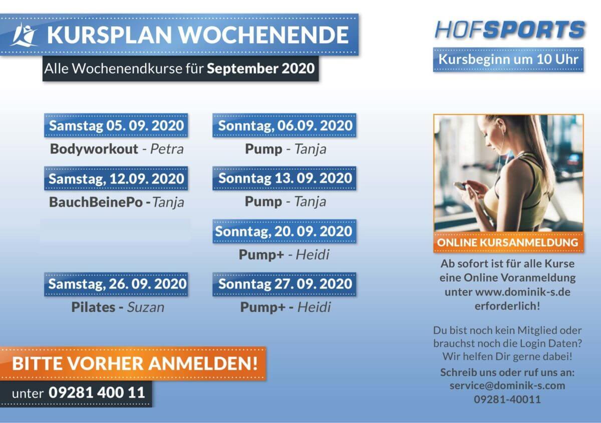 HofSports Kursplan Wochenendkurse September 2020