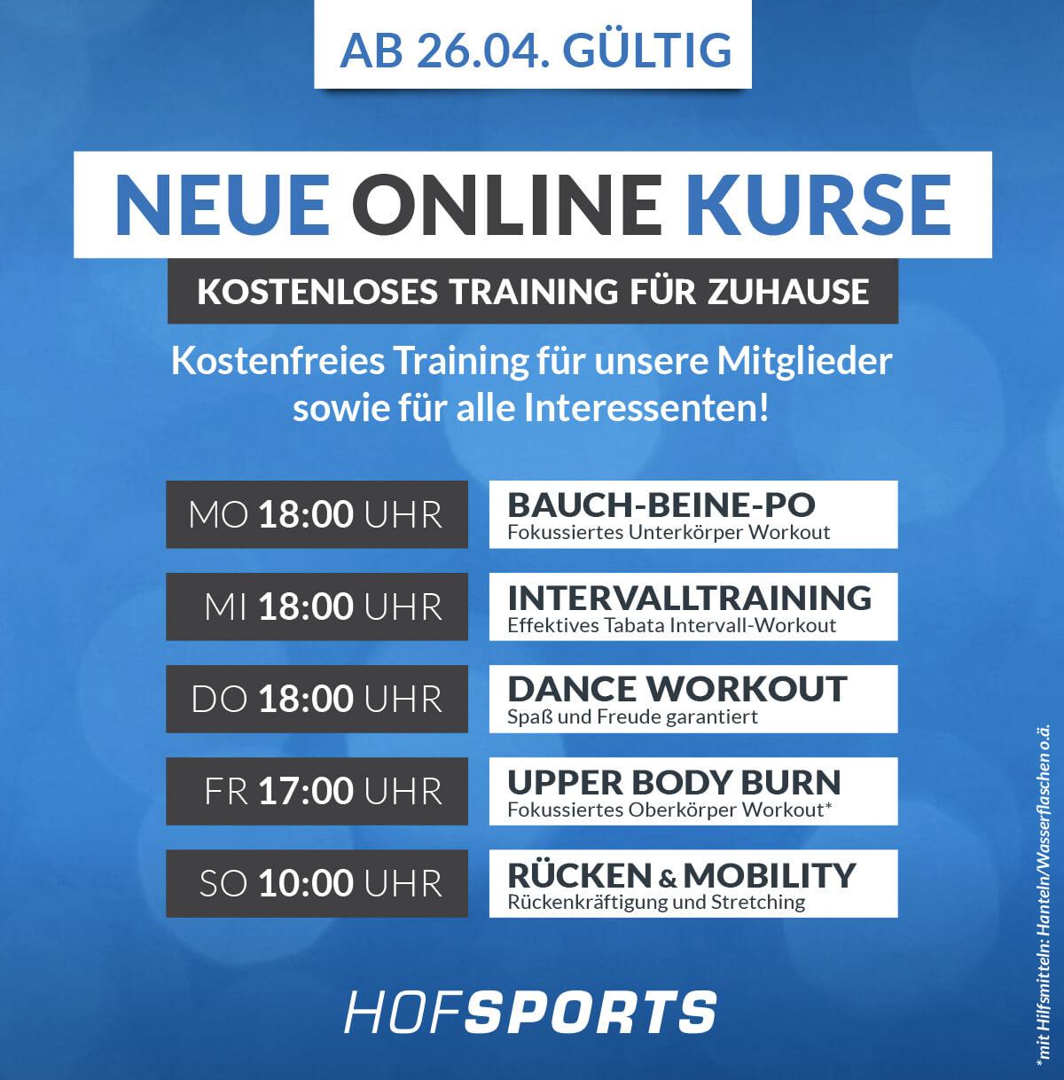 HofSports_Fitnessstudio-Gesundheitsstudio-Zoom NEUE Online Kurse
