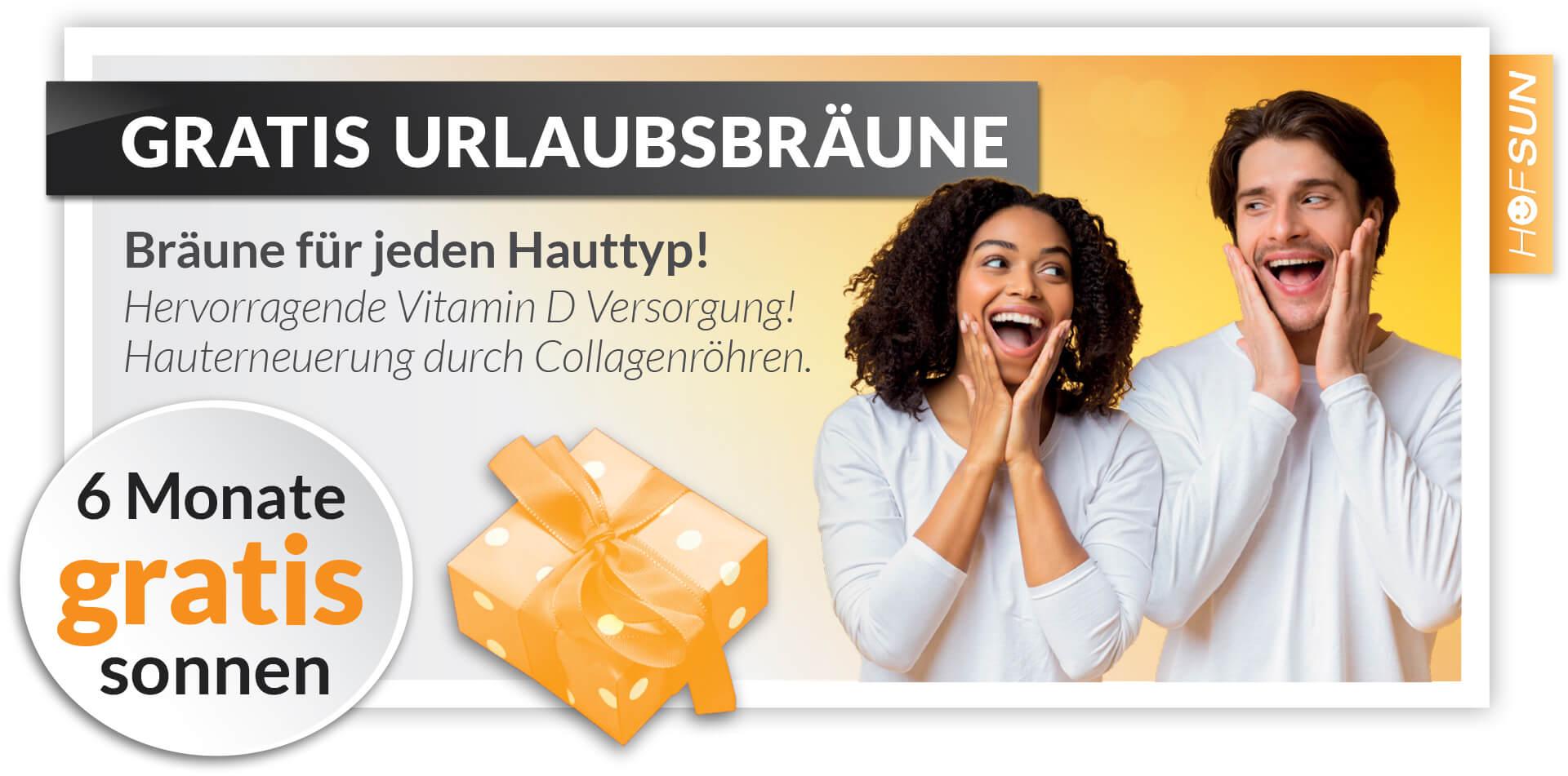 HofSun Gutscheine - 6 Monate gratis Sonnen im Sonnenstudio HofSun