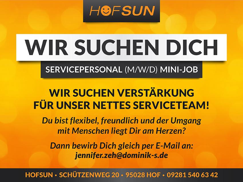 Sonnenstudio HofSun Stellen Anzeige