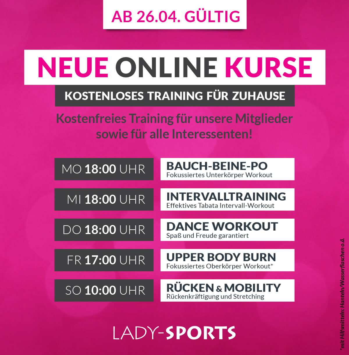 Lady-Sports - neue Online Kurse via Zoom