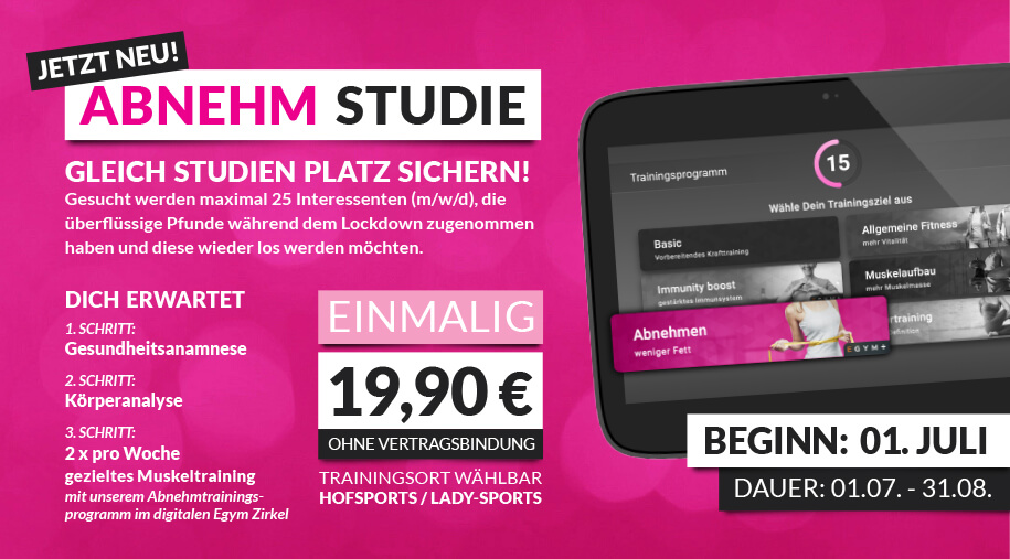 Lady-Sports Abnehm Studie - neue Aktion vom 01.07. - 31.08.
