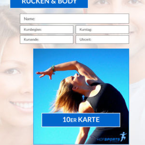 10er Karte Rücken&Body Fitnesskurs HofSports