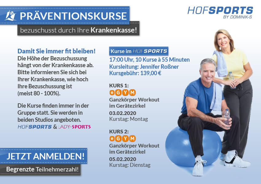 Fitnessstudios - Präventionskurse 2020 im HofSports