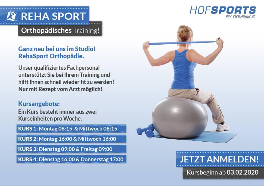 Fitnessstudios - Rehasport Rehakurse im HofSports Orthopaedisches Training im Hof Sports