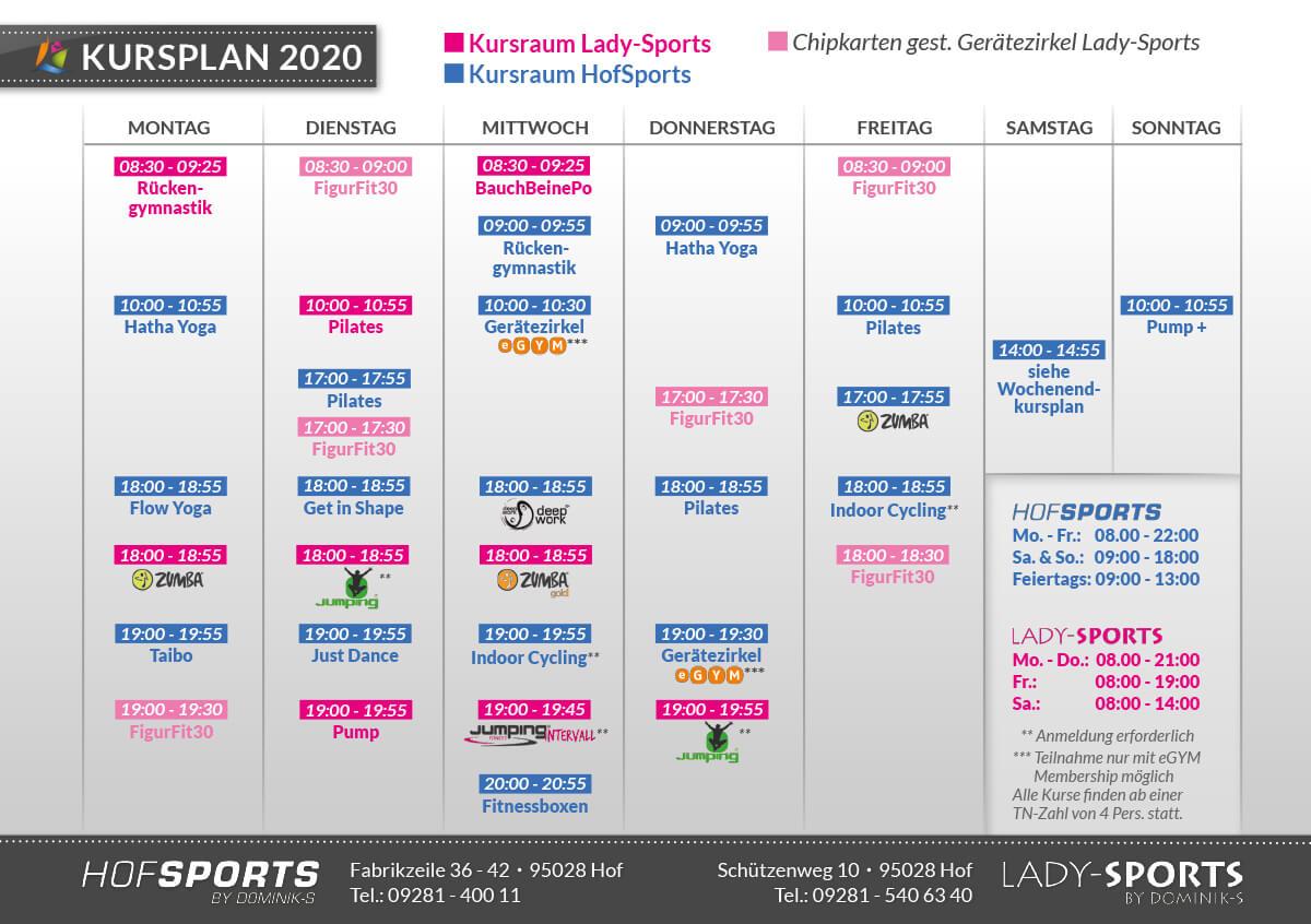 Fitnessstudios HofSports und LadySports - Kursplan 2020