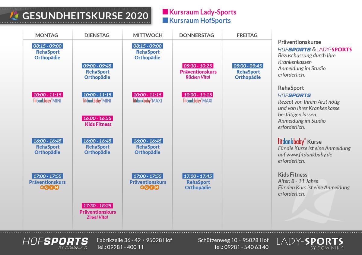 Fitnessstudios HofSports und LadySports - Gesundheitskurse 2020