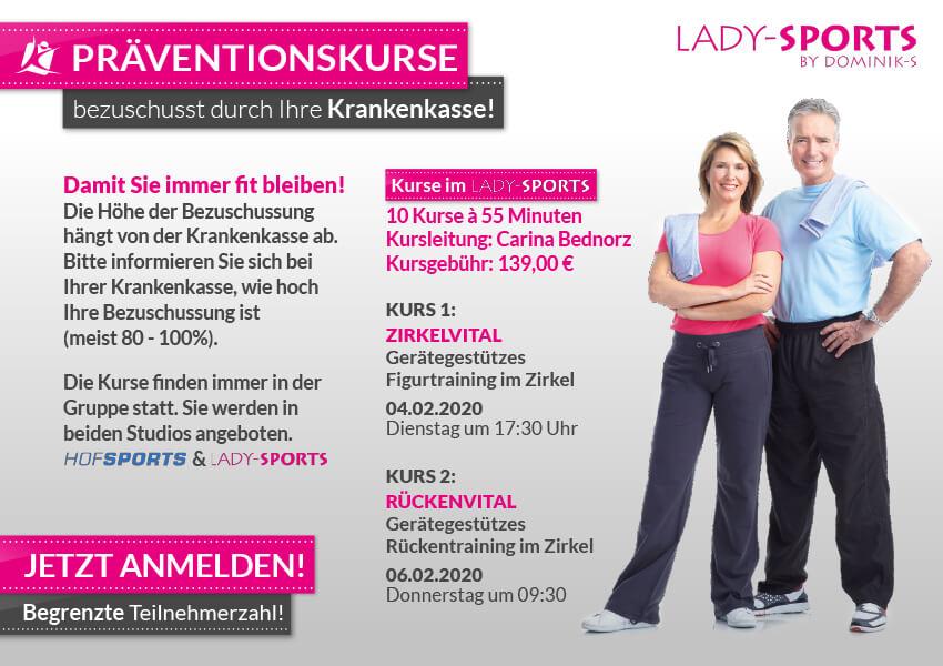 Fitnessstudios - Präventionskurse 2020