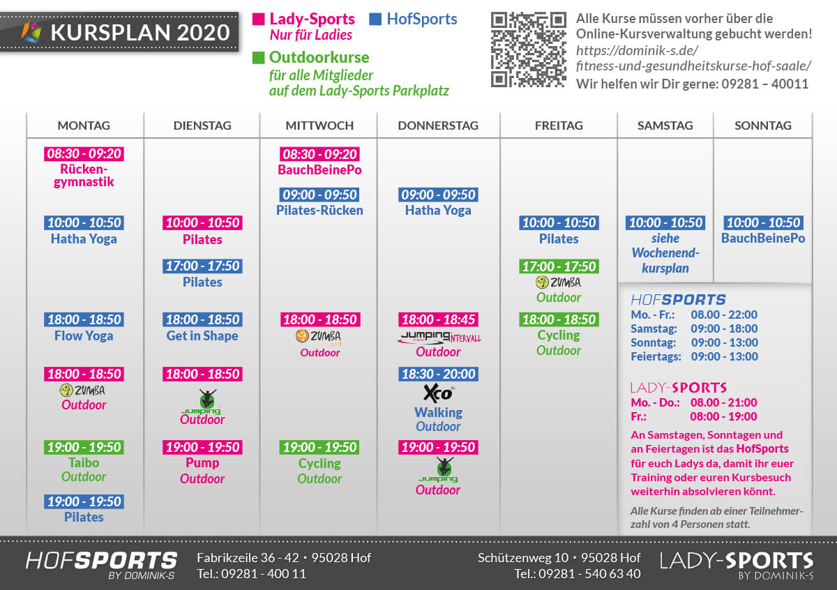 Kursplan Fitnesskurse Gesundheitskurse für Fitnessstudios HofSports und LadySports