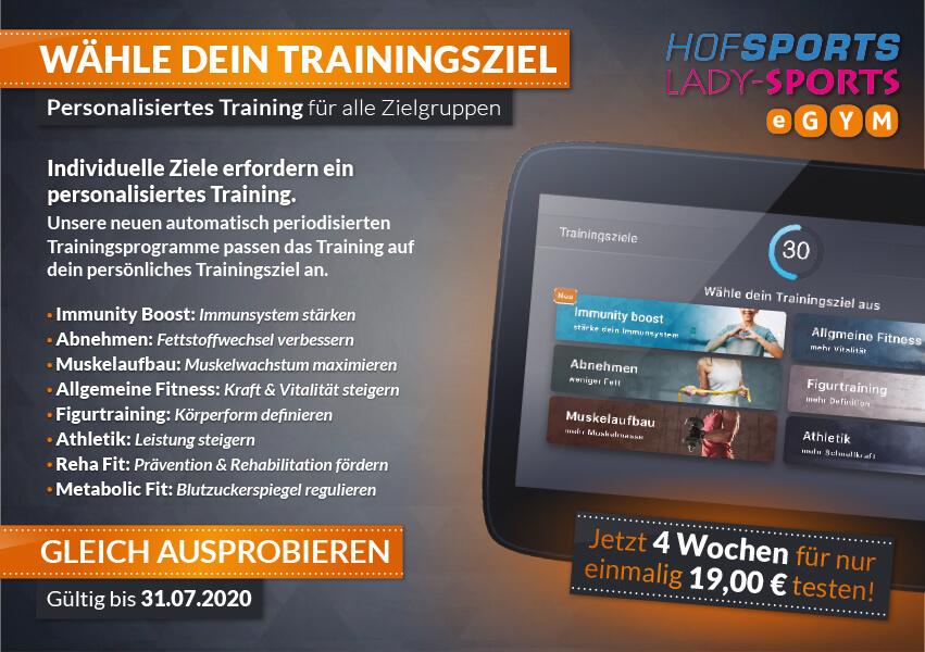 Aktion HofSports und Lady-Sports Fitnessstudio nur für Frauen - wähle dein persönliches Trainingsziel