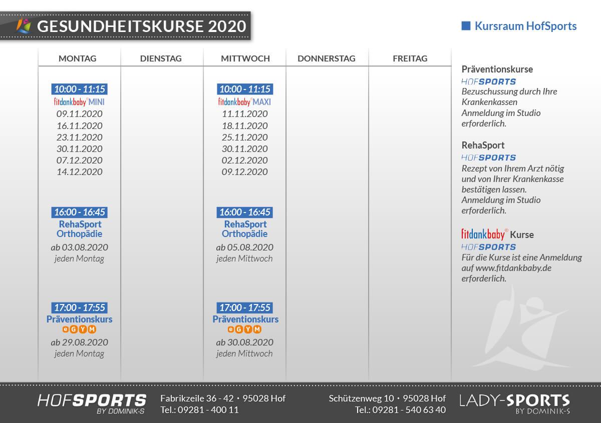 Kursplan Gesundheitskurse im Fitnessstudio HofSports by Dominiks in Hof
