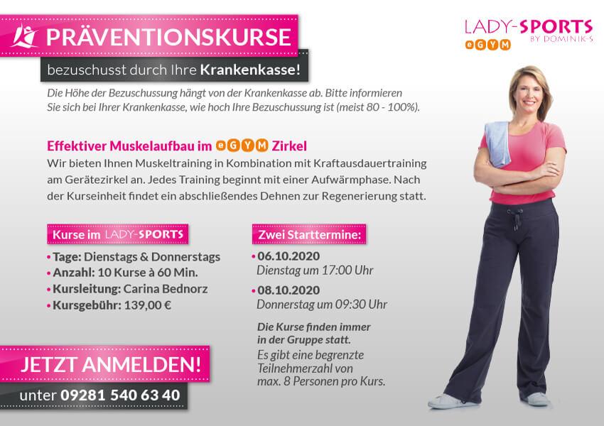 Praeventionskurse ab Oktober 2020 im Lady-Sports