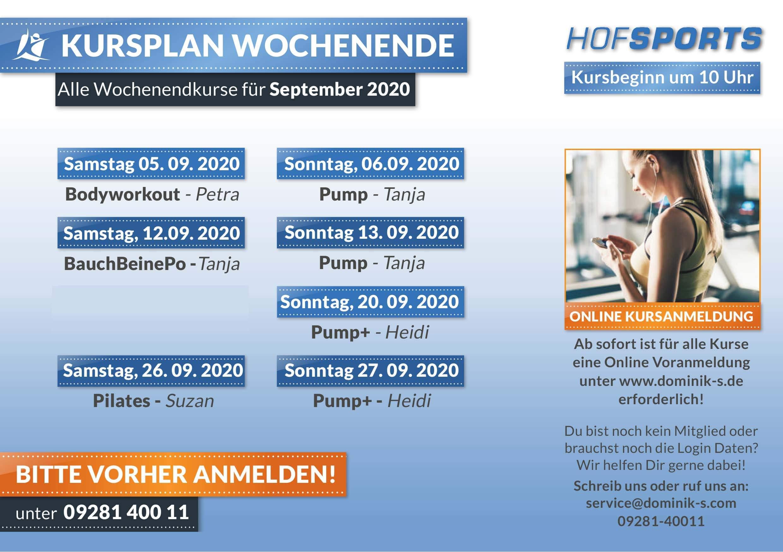Wochenendkurse September 2020 HofSports