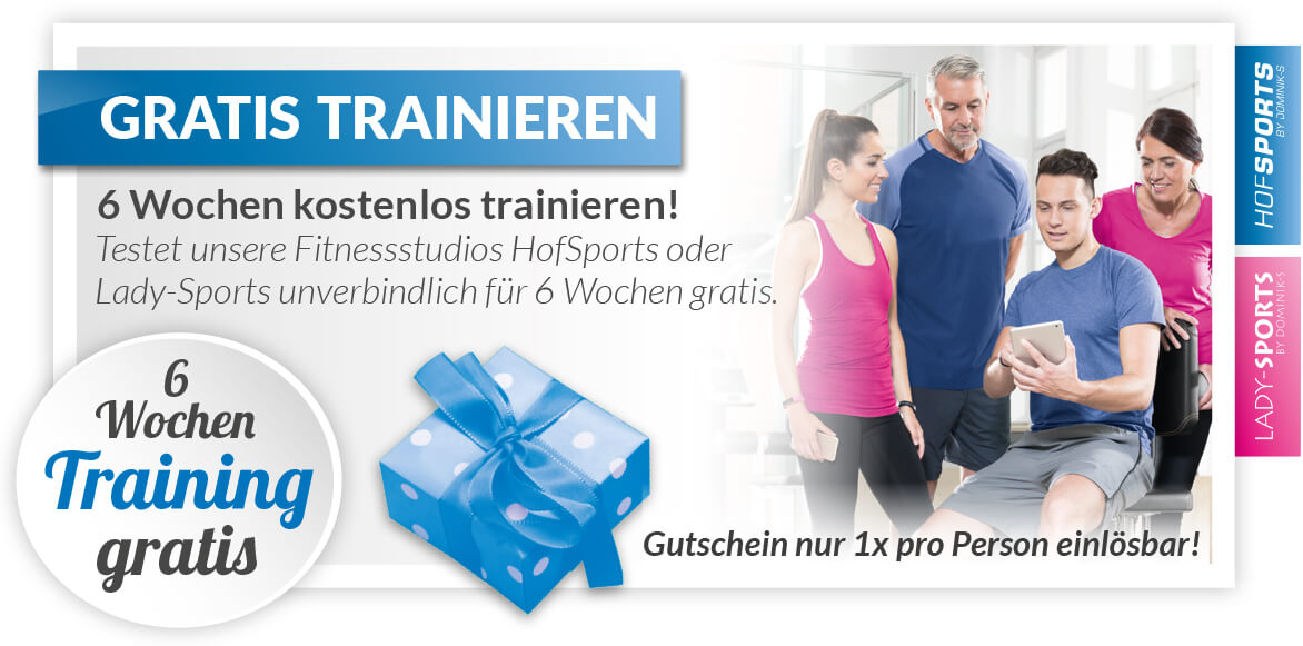 Fitnessstudio-HofSports-Lady-Sports-Gutschein-6 Wochen gratis trainieren