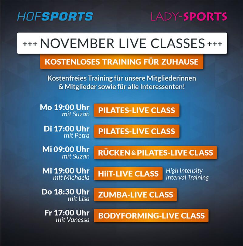 HofSports Lady-Sports Live-Classes Training für zuhause