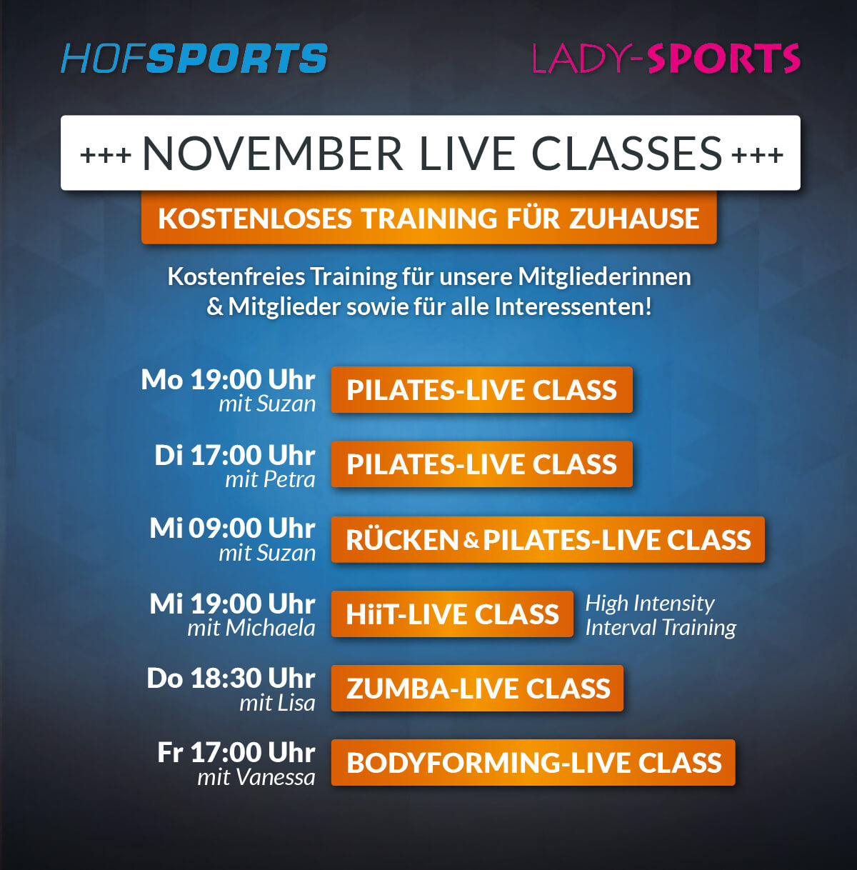 HofSports Lady-Sports Live-Classes Training für zuhause